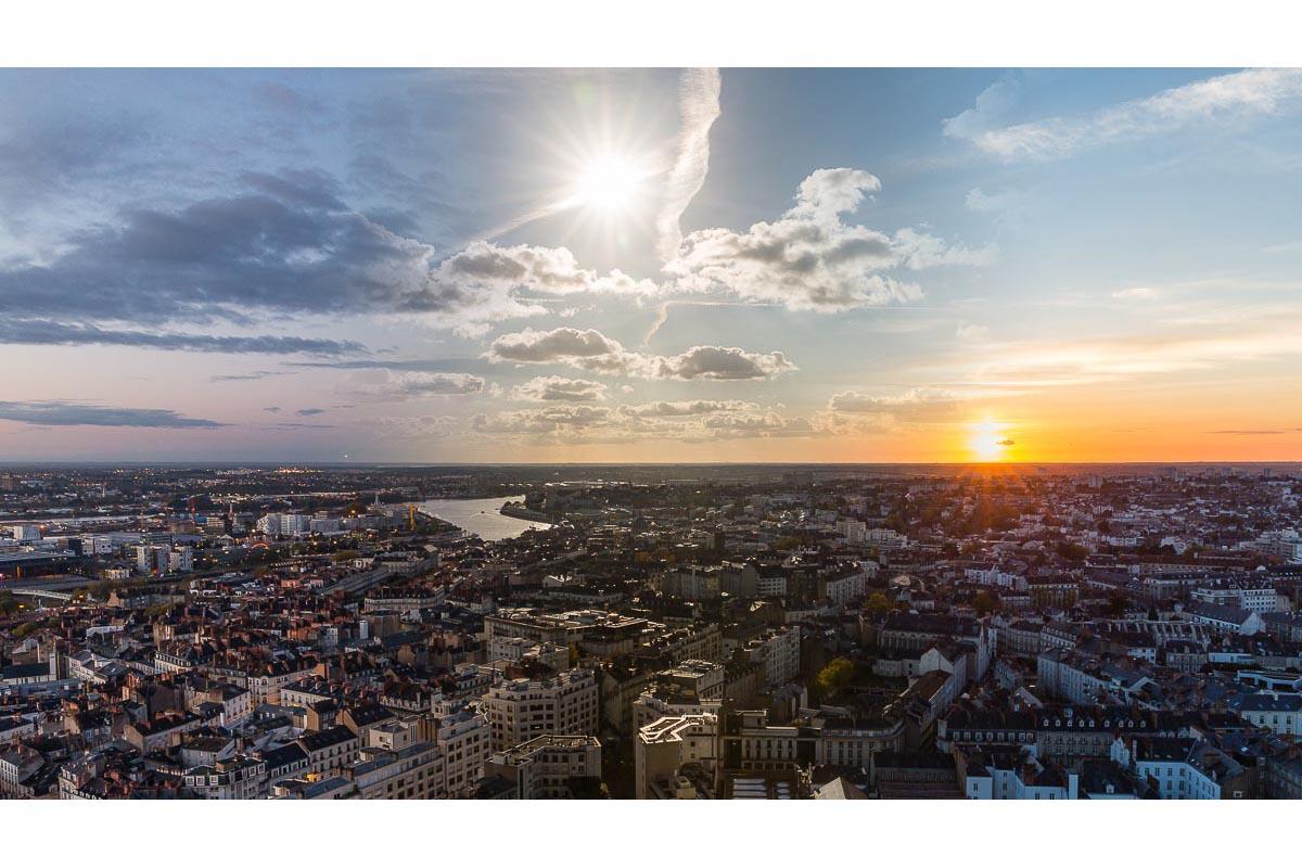 Panorama sud ouest de Nantes matin midi et soir