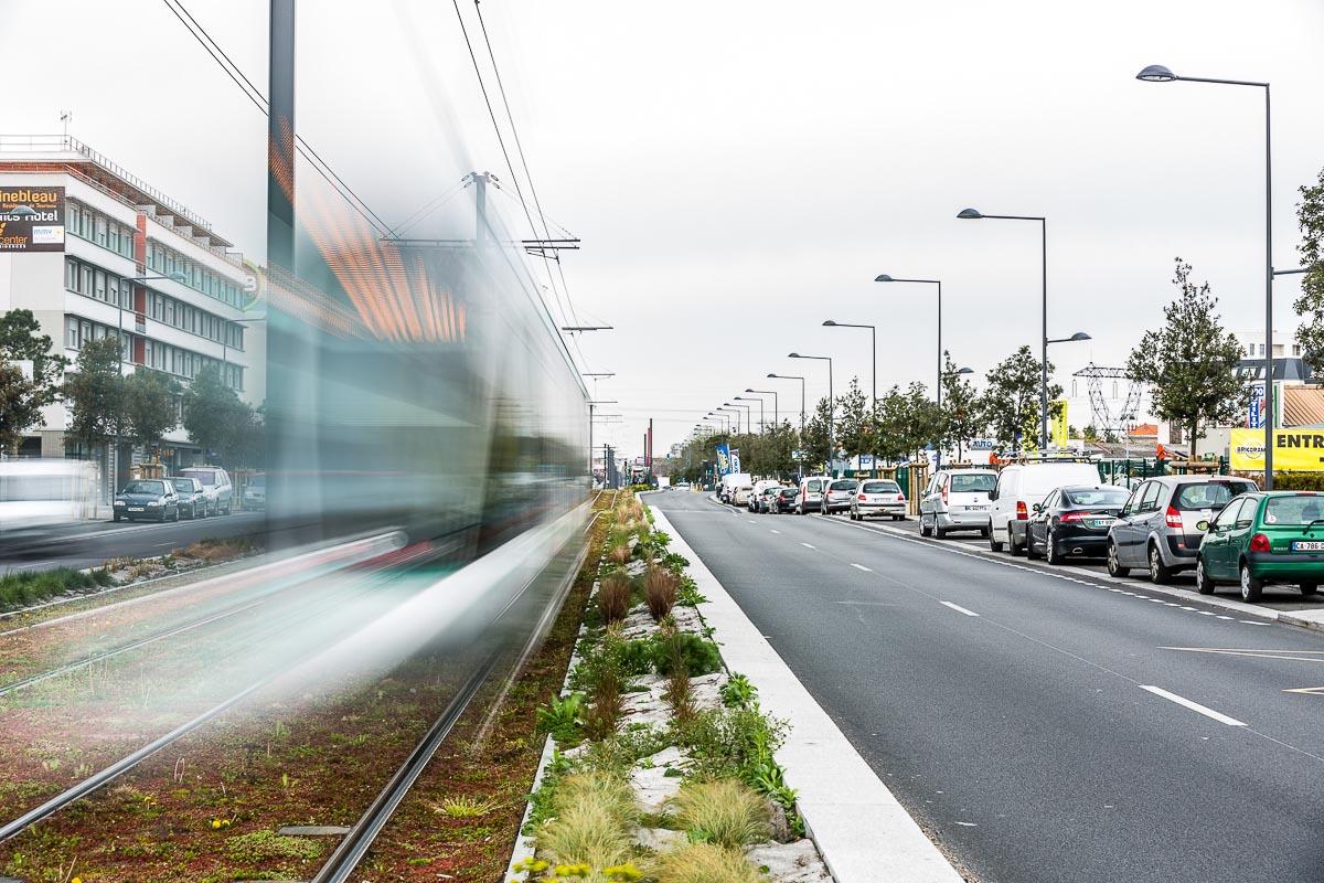 reportage urbain lampadaires et tram